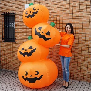 ハロウィンエア装飾 エアブロー 4段オレンジパンプキン H240cm/動画有|event-ya