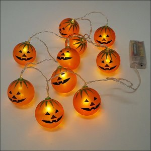 ハロウィン装飾 電池式LEDパンプキンライト 10球連 120cm/動画有...