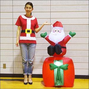 クリスマスエアブロー装飾 ムービングプレゼントサンタ H120cm×W75cm|event-ya