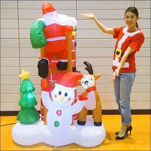 クリスマスエアブロー装飾 はしごのサンタシーン H180cm×W125cm|event-ya