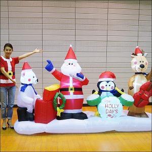 クリスマスエアブロー装飾 クリスマスサンタバンド H175cm×W297cm|event-ya