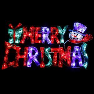 LEDイルミネーション クリスタルMCタイトルスノーマン W58cm×H29cm / クリスマス|event-ya