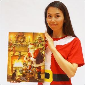 クリスマス装飾 LEDライティングキャンバスピクチャー クリスマスサンタ W40cm / 飾り ディスプレイ|event-ya