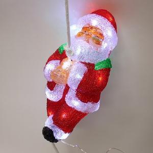 クリスマス装飾 LEDクリスタル クライミングサンタ H37cm / 飾り ディスプレイ/動画有|event-ya