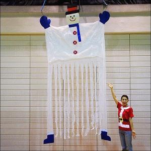 クリスマス装飾 ビッグなスノーマンのハンギングカーテン H350cm|event-ya