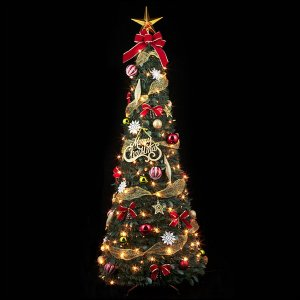 クリスマス装飾 クリスマスLEDフォールディングREDツリー 180cm|event-ya