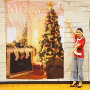 クリスマス装飾 クリスマスバックスクリーンシート H240cm×W180cm 暖かいお部屋のツリー|event-ya