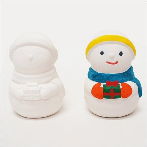 クリスマス手作り工作キット お絵かき陶器貯金箱 スノーマン 1個|event-ya