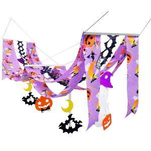 ハロウィン装飾 ハロウィンプリーツウェーブペナント 紫 L140cm|event-ya
