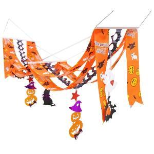ハロウィン装飾 ハロウィンプリーツウェーブペナント オレンジ L140cm|event-ya