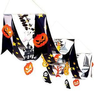 ハロウィン装飾 ブラックパンプキンプリーツ2連ペナント L140cm|event-ya
