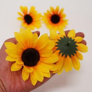 夏装飾 ひまわりフラワーポップ(12個入) 7〜10cm / 向日葵 ヒマワリ 飾り ディスプレイ|event-ya