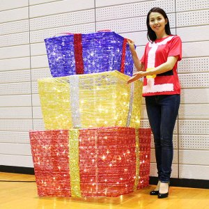 [B級品特価] 折りたたみデコレーション 3連プレゼントボックス H150cm [大型商品160cm以上] / イルミネーション クリスマス 装飾 飾り/動画有|event-ya
