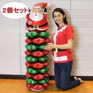 クリスマス装飾 サンタバルーンスタンド H145cm 2個セット/動画有|event-ya