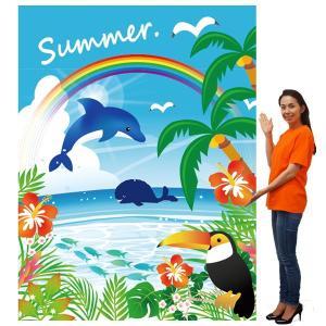 夏の装飾 イルカサマー バックスクリーンシート H240cm×W175cm|event-ya