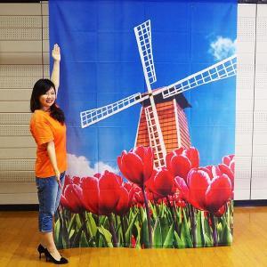 春の装飾 春のバックスクリーンシート チューリップ風車 H240cm×W175cm / 飾り ディスプレイ|event-ya