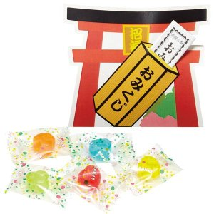 感謝飴 水引付・四葉柄キャンディー 赤袋 200個セット / 景品 粗品 ギフト|event-ya