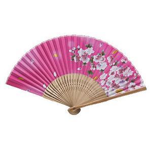 和柄扇子(5本) 唐木中彫 桜(ピンク)|event-ya