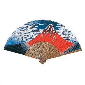 和柄扇子(5本) 唐木中彫 北斎赤富士 / せんす 和風 ノベルティ|event-ya