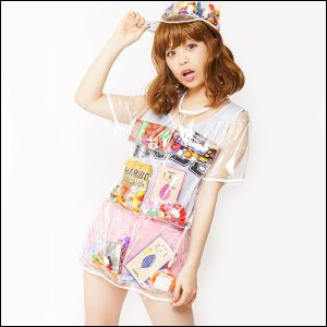 ハロウィンコスチューム  デコポケポケットシャツ ワンピースシャツ 透明|event-ya
