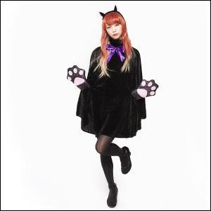 ハロウィンコスチューム 黒猫PONCHO ポンチョ&カチューシャセット|event-ya