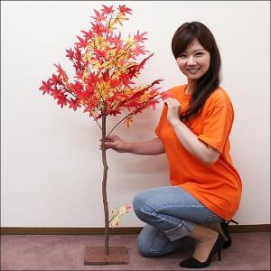 秋もみじ装飾 ナチュラル紅葉立ち木 120cm 天然木使用 / 秋 装飾 ディスプレイ 飾り|event-ya