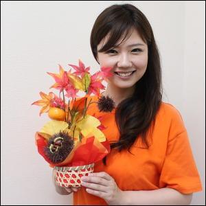 秋の装飾 柿と栗の秋味覚盛りカゴ H37cm / 動画有|event-ya