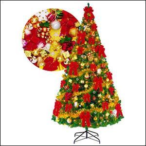 クリスマスツリーセット 360cm オーナメント付・200球ライト付 / 装飾 ディスプレイ 飾り|event-ya
