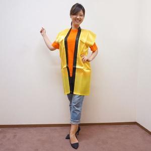 サテンカラーロングはっぴ S中サイズ 身丈90cm【黄】|event-ya