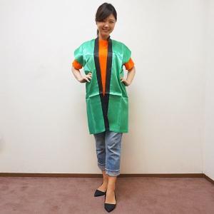 サテンカラーロングはっぴ S中サイズ 身丈90cm【緑】|event-ya