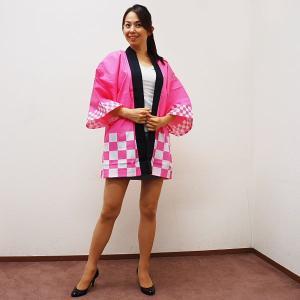 はっぴ カラー市松柄 ピンク フリーサイズ / ハッピ・法被・半纏|event-ya