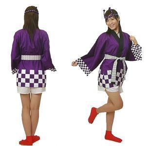 [在庫限り]カラー市松柄ハッピ M寸 紫  身巾65cm×身丈75cm event-ya