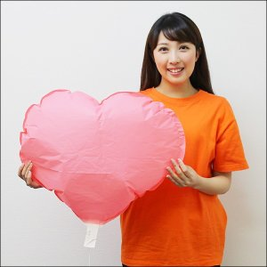 エコ和紙風船 ハート型ヒモ付き ピンク 10枚セット / バルーン|event-ya