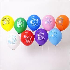 天然ゴム風船 まんが柄ヘリウムガス用(100ヶ) 糸付きボール紙どうぶつクリップ/ バルーン  [動画有]|event-ya