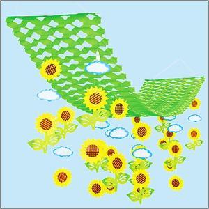夏装飾 ひまわり畑プリーツハンガー L150cm / 向日葵 ヒマワリ 飾り ディスプレイ|event-ya