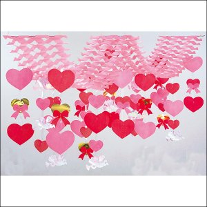 [在庫限り特価品]バレンタイン装飾 ダブルハートハンガー L200cm|event-ya