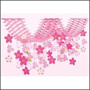 桜装飾 舞桜2連プリーツハンガー L200cm / 飾り ディスプレイ 春|event-ya