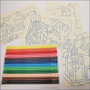 A5サイズ簡単砂絵作りセット 切抜き済、のり付台紙4枚組付き|event-ya