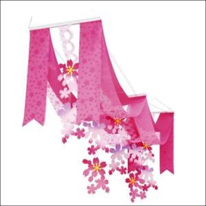 桜装飾 桜プリーツ2連ペナントハンガー L140cm / 飾り ディスプレイ 春/動画有|event-ya
