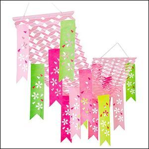 桜装飾 はんなり和桜プリーツペナントハンガー L180cm / 飾り ディスプレイ 春|event-ya