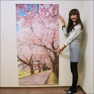 桜タペストリー 桜並木 防炎加工 L180cm / 春 装飾 飾り ディスプレイ|event-ya