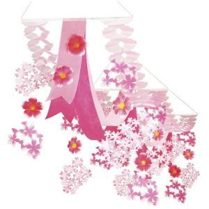 桜装飾 大桜プリーツ2連ペナントハンガー L140cm / 飾り ディスプレイ 春|event-ya