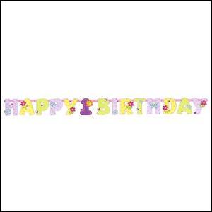 バナー ハッピーバースデー ガールズ1st 【誕生日・パーティー・ディスプレイ・装飾】|event-ya