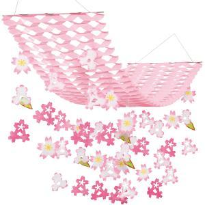 桜装飾 バリュー舞いさくらプリーツハンガー L150cm / 飾り ディスプレイ 春 店舗装飾|event-ya