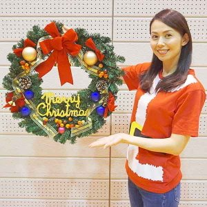 クリスマス装飾 ゴールドリボンリース 60cm / 飾り付け ディスプレイ デコレーション|event-ya