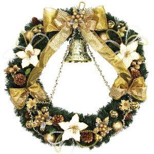 クリスマス装飾 スペシャルデコレーションリース ゴールドベル 80cm / クリスマス 飾り ディスプレイ|event-ya