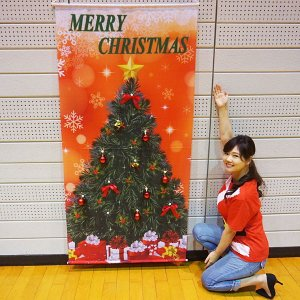 クリスマス装飾 立体タペストリー(オーナメント12個 取付ボタン付き) レッドクリスマス H180cm|event-ya