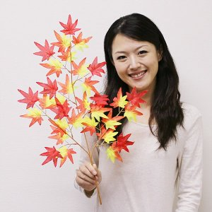 秋装飾 紅葉[もみじ]枝 60cm / 動画有|event-ya