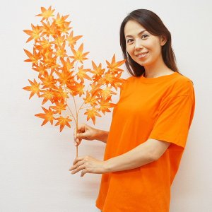 秋装飾 紅葉[もみじ]枝 オレンジレッド 70cm 24本セット event-ya