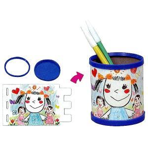 お絵かき工作キット ペン立て作り 青(50個) /  手作り 色塗り おえかき|event-ya